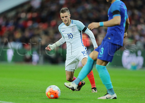 29.03.2016. Wembley Stadium, London, England.  International Football Friendly England versus Netherlands. England Forward Jamie Vardy closes Netherlands Defender Jeffrey Bruma down during a Netherlands back pass