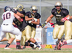 Palos Verdes, CA 11/03/17 - Justin Martz (Palos Verdes #10) and Andres Park (Peninsula #71), Wyatt Chang (Peninsula #9) and Matt Collins (Peninsula #75) in action during the Palos Verdes vs Palos Verdes Peninsula CIF Varsity football game at Peninsula High School for the battle of the hill.