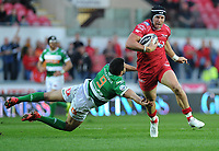 Scarlets' DTH Van Der Merwe evades the tackle of Benetton Treviso's Tito Tebaldi<br /> <br /> Photographer Ashley Crowden/CameraSport<br /> <br /> Guinness PRO12 Round 19 - Scarlets v Benetton Treviso - Saturday 8th April 2017 - Parc y Scarlets - Llanelli, Wales<br /> <br /> World Copyright &copy; 2017 CameraSport. All rights reserved. 43 Linden Ave. Countesthorpe. Leicester. England. LE8 5PG - Tel: +44 (0) 116 277 4147 - admin@camerasport.com - www.camerasport.com
