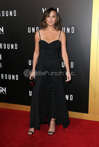 "WESTWOOD, CA - February 28: Chrissy Teigen, At Premiere Of WGN America's ""Underground"" Season 2, At The Regency Village Theatre In California on February 28, 2017. Credit: Faye Sadou/MediaPunch"