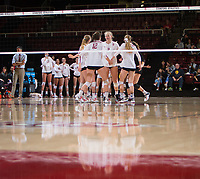 STANFORD, CA - December 1, 2017: Jenna Gray, Audriana Fitzmorris, Kathryn Plummer, Meghan McClure, Morgan Hentz at Maples Pavilion. The Stanford Cardinal defeated the CSU Bakersfield Roadrunners 3-0 in the first round of the NCAA tournament.