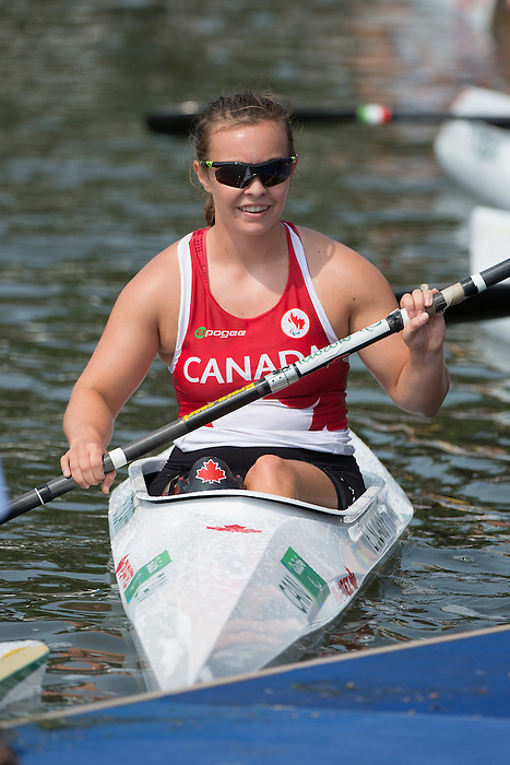 RIO DE JANEIRO - 15/9/2016:  Erica Scarff competes in the Women's KL3 Final Canoe Sprint at the Lagoa Stadium during the Rio 2016 Paralympic Games in Rio de Janeiro, Brazil. (Photo by Matthew Murnaghan/Canadian Paralympic Committee)