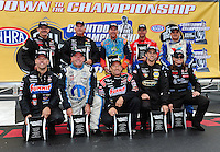 Sept. 16, 2011; Concord, NC, USA: The ten championship contenders in the NHRA pro stock class (front row from left) Jason Line , Allen Johnson , Greg Anderson , Vincent Nobile , Erica Enders rear row from left) Mike Edwards , Rodger Brogdon , Greg Stanfield , Shane Gray and Ron Krisher pose for a photo during qualifying for the O'Reilly Auto Parts Nationals at zMax Dragway. Mandatory Credit: Mark J. Rebilas-US PRESSWIRE