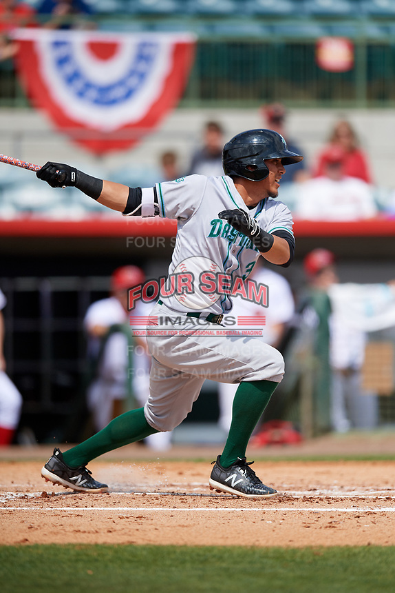 Daytona Tortugas shortstop Carlos Rivero (3) follows through on a swing during a game against the Florida Fire Frogs on April 8, 2018 at Osceola County Stadium in Kissimmee, Florida.  Daytona defeated Florida 2-1.  (Mike Janes/Four Seam Images)