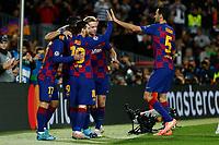 27th November 2019; Camp Nou, Barcelona, Catalonia, Spain; UEFA Champions League Football, Barcelona versus Borussia Dortmund;  Leo Messi  celebrates after scoring for 2-0 in the 33rd minute - Editorial Use