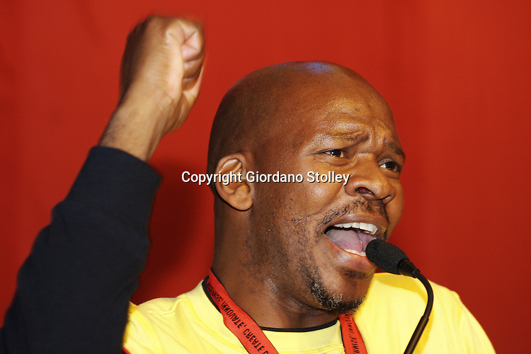 DURBAN - 9 August 2007 - Themba Khumalo, the 2nd deputy president of the South African Clothing and Textile Workers Union speaks to delegats at the union's 10th Congress, held in the International Convention Centre in Durban..Picture: Giordano Stolley/Allied Picture Press