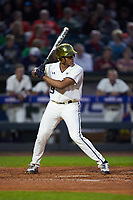 Eric Feliz (19) of the Notre Dame Fighting Irish at bat against the Louisville Cardinals in Game Eight of the 2017 ACC Baseball Championship at Louisville Slugger Field on May 25, 2017 in Louisville, Kentucky. The Cardinals defeated the Fighting Irish 10-3. (Brian Westerholt/Four Seam Images)