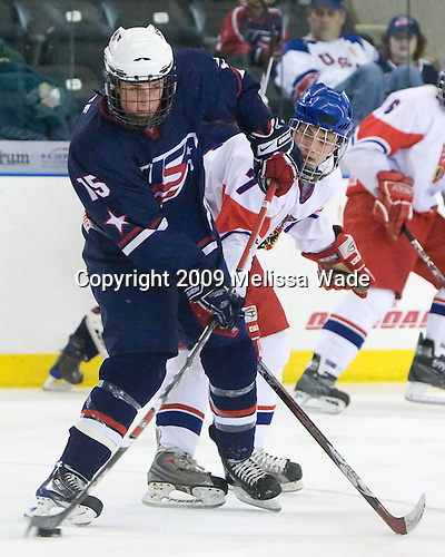Drew Shore (US - 15), Antonin Honejsek  (Czech Republic - 7) - The US defeated the Czech Republic 6-2 on Thursday, April 16, 2009, at the Urban Plains Center in Fargo, North Dakota, during the 2009 World Under 18 Championship.