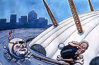 London: Steve Bell Cartoon--7/6/2006. Deputy PM John Prescott pursuing Philip Anschutz.   Reference only.