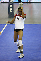 14 December 2006: Stanford Cardinal Foluke Akinradewo during Stanford's 30-12, 30-25, 30-15 win against the Washington Huskies in the 2006 NCAA Division I Women's Volleyball Final Four semifinal match at the Qwest Center in Omaha, NE.
