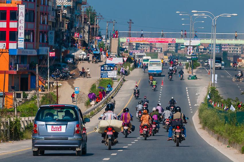 Highway traffic in the Kathmandu Valley, Nepal.