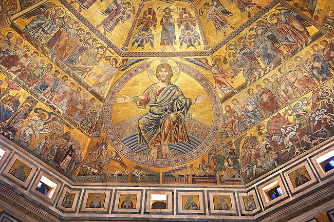 The Medieval mosaics of the ceiling of The Baptistry of Florence Duomo ( Battistero di San Giovanni ) showing Christ and the Last Judgement Day started in 1225 by Venetian craftsmen in a Byzantine style and completed in the 14th century. Florence Italy