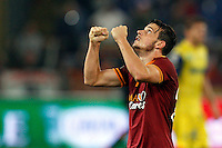 Calcio, Serie A: Roma vs ChievoVerona. Roma, stadio Olimpico, 31 ottobre 2013.<br /> AS Roma midfielder Alessandro Florenzi celebrates at the end of the Italian Serie A football match between AS Roma and ChievoVerona at Rome's Olympic stadium, 31 October 2013. AS Roma won 1-0.<br /> UPDATE IMAGES PRESS/Riccardo De Luca