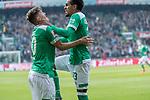 13.04.2019, Weser Stadion, Bremen, GER, 1.FBL, Werder Bremen vs SC Freiburg, <br /> <br /> DFL REGULATIONS PROHIBIT ANY USE OF PHOTOGRAPHS AS IMAGE SEQUENCES AND/OR QUASI-VIDEO.<br /> <br />  im Bild<br /> <br /> 2:0 kopfball Theodor Gebre Selassie (Werder Bremen #23) <br /> <br /> jubel <br /> Max Kruse (Werder Bremen #10)<br /> Foto © nordphoto / Kokenge