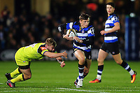 Darren Atkins of Bath Rugby goes on the attack. Anglo-Welsh Cup match, between Bath Rugby and Leicester Tigers on November 4, 2016 at the Recreation Ground in Bath, England. Photo by: Patrick Khachfe / Onside Images