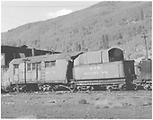 Rotary #2 at Rico engine house with water car #W12 attached.<br /> RGS  Rico, CO  Taken by Lunoe, Bob - 8/22/1941
