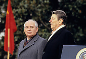 President Mikhail Gorbachev of the Soviet Union is welcomed to the White House in Washington, DC for a State Visit by United States President Ronald Ronald Reagan on December 8, 1987.<br /> Credit: Arnie Sachs / CNP