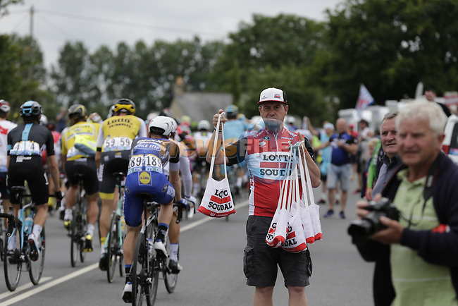 Lotto-Soudal soigneur waits for his riders pass through the feed zone at La Hargriniere during Stage 3 of the 2016 Tour de France, running 223.5km from Granville to Angers, France . 4th July 2016.<br /> Picture: Eoin Clarke | Newsfile<br /> <br /> <br /> All photos usage must carry mandatory copyright credit (&copy; Newsfile | Eoin Clarke)