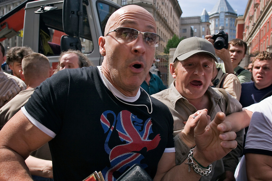 Moscow, Russia, 27/05/2007..Richard Fairbrass, of British pop group Right Said Fred, is attacked and beaten by Russian nationalists before being arrested by police at  Moscow's second attempted Gay Pride parade. The parade had already been banned by Moscow Mayor Yuri Luzhkov on the grounds that it would provoke violence, but gay activists attempted to demonstrate in defiance of the ban, and many were beaten by counter demonstrators and arrested by police.