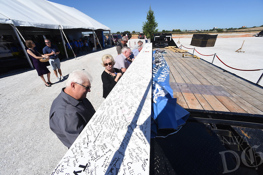 NWA Democrat-Gazette/J.T. WAMPLER  Wednesday Sept. 28, 2016 at the Arkansas Children's Hospital Northwest's topping out ceremony. The beam represents the highest point on the skeleton of the structure as it gets closer to its early 2018 opening. The hospital is located at the Corner of 56th Street and Watkins Avenue in Springdale.