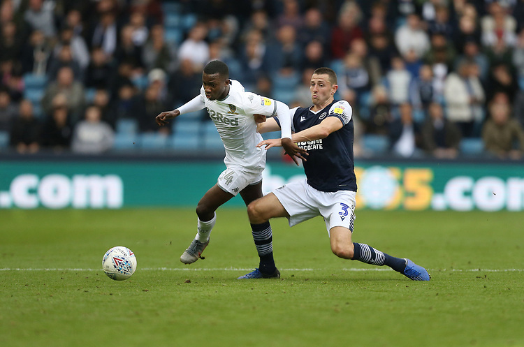 Leeds United's Edward Nketiah and Millwall's Murray Wallace<br /> <br /> Photographer Rob Newell/CameraSport<br /> <br /> The EFL Sky Bet Championship - Millwall v Leeds United - Saturday 5th October 2019 - The Den - London<br /> <br /> World Copyright © 2019 CameraSport. All rights reserved. 43 Linden Ave. Countesthorpe. Leicester. England. LE8 5PG - Tel: +44 (0) 116 277 4147 - admin@camerasport.com - www.camerasport.com