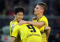 FUSSBALL   1. BUNDESLIGA   SAISON 2011/2012   23. SPIELTAG Borussia Dortmund - Hannover 96                        26.02.2012 Torjubel nach dem 1:0: Shinji Kagawa, Robert Lewandowski und Lukasz Piszczek (v.l., alle Borussia Dortmund)