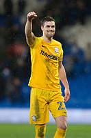 Paul Huntington of Preston North End celebrates his side's win at full time of the Sky Bet Championship match between Cardiff City and Preston North End at the Cardiff City Stadium, Cardiff, Wales on 29 December 2017. Photo by Mark  Hawkins / PRiME Media Images.