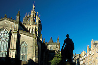 St Giles Cathedral and Adam Smith statue, The Royal Mile, Edinburgh