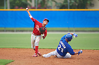 Philadelphia Phillies Jose Antequera (7) throws to first after forcing out Matt Morgan (21) at second during an instructional league game against the Toronto Blue Jays on September 28, 2015 at Englebert Complex in Dunedin, Florida.  (Mike Janes/Four Seam Images)