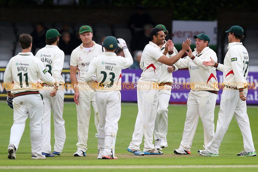 Jigar Naik of Leicestershire (C) is congratulated by his team mates after taking the wicket of Matt Salisbury - Essex CCC vs Leicestershire CCC - LV County Championship Division Two Cricket at the Essex County Ground, Chelmsford, Essex - 31/05/15 - MANDATORY CREDIT: Gavin Ellis/TGSPHOTO - Self billing applies where appropriate - contact@tgsphoto.co.uk - NO UNPAID USE