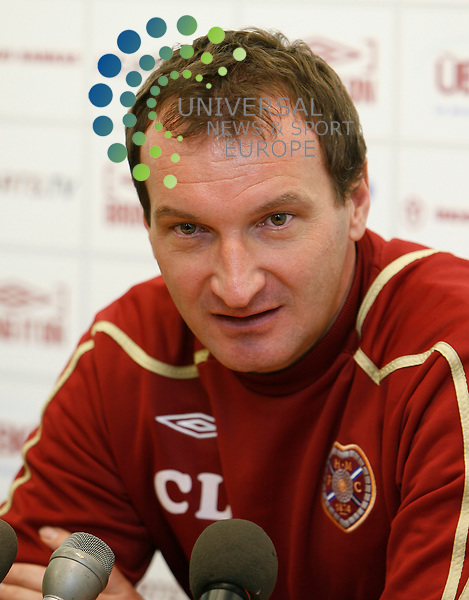 Hearts v Rangers Press Conf SPL Season 2008/09 ..28/11/08..Hearts Head Coach Csaba Laszlo, during  this weeks Press Conf ahead of this weekends Scottish Premier League match between Hearts FC and Rangers FC. .At Hearts Training Complex,  Edinburgh today...Picture by Mark Davison/ Universal News & Sport..All pictures must be credited to www.universalnewsandsport.com.(0ffice) 0844 884 51 22. ........... .