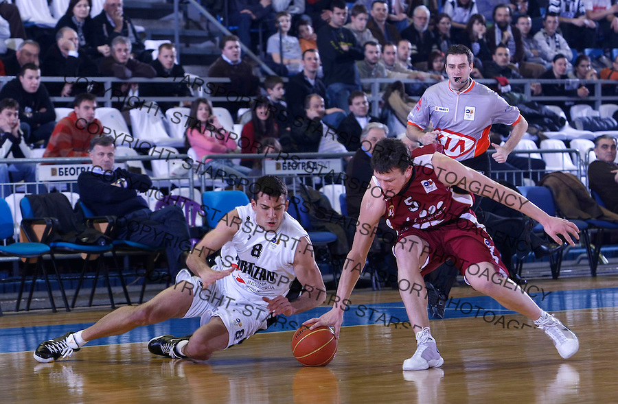 Kosarka, NLB League, season 2008/09.Partizan Vs. Bosna (Sarajevo).Nemanja Milosevic, left.Beograd, 18.03.2009..Photo: © Srdjan Stevanovic/Starsportphoto.com