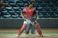 Salem Red Sox catcher Jhon Nunez (2) checks the runner at third base during the game against the Winston-Salem Dash at BB&T Ballpark on April 21, 2018 in Winston-Salem, North Carolina.  The Dash walked-off the Red Sox 4-3.  (Brian Westerholt/Four Seam Images)
