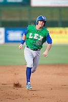 Ryan O'Hearn (22) of the Lexington Legends hustles towards third base against the Kannapolis Intimidators at CMC-Northeast Stadium on May 25, 2015 in Kannapolis, North Carolina.  The Intimidators defeated the Legends 6-5.  (Brian Westerholt/Four Seam Images)