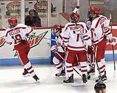 Clayton Keller (BU - 19), Jakob Forsbacka Karlsson (BU - 23), Charlie McAvoy (BU - 7), Jordan Greenway (BU - 18) - The visiting Merrimack College Warriors defeated the Boston University Terriers 4-1 to complete a regular season sweep on Friday, January 27, 2017, at Agganis Arena in Boston, Massachusetts.The visiting Merrimack College Warriors defeated the Boston University Terriers 4-1 to complete a regular season sweep on Friday, January 27, 2017, at Agganis Arena in Boston, Massachusetts.
