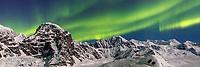 Aurora Borealis / Northern Lights over Mt. Dan Beard in the Alaska Range in the Ruth Amphitheater