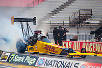 Jul 11, 2020; Clermont, Indiana, USA; NHRA top fuel driver Shawn Langdon during qualifying for the E3 Spark Plugs Nationals at Lucas Oil Raceway. This is the first race back for NHRA since the start of the COVID-19 global pandemic. Mandatory Credit: Mark J. Rebilas-USA TODAY Sports