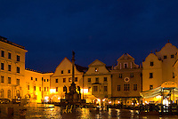 Beautiful night photograph of colorful town center and castle in Cesky Krumlov in Czech Republic