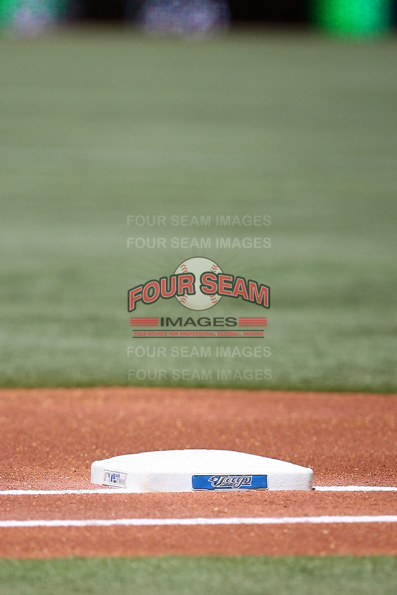 May 25, 2008:  Toronto Blue Jays logo on first base at the Rogers Centre in Toronto, Ontario, Canada .  Photo by:  Mike Janes/Four Seam Images