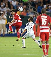 CARSON, CA – NOVEMBER 14: FC Dallas David Ferreira (10) and LA Galaxy midfielder Dema Kevalenko (21) during the Western Conference Final soccer match at the Home Depot Center, November 14, 2010 in Carson, California. Final score LA Galaxy 0, Dallas FC 3.
