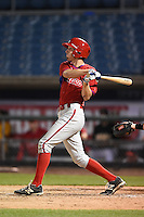 Jean-Francois Garon (21) of College Laval High School in Terrebonne, Quebec, Canada playing for the Philadelphia Phillies scout team during the East Coast Pro Showcase on July 31, 2014 at NBT Bank Stadium in Syracuse, New York.  (Mike Janes/Four Seam Images)