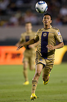 Philadelphia Union midfielder Michael Orozco Fiscal (16) moves to the ball. The Philadelphia Union and CD Chivas USA played to 1-1 draw at Home Depot Center stadium in Carson, California on Saturday evening July 3, 2010..