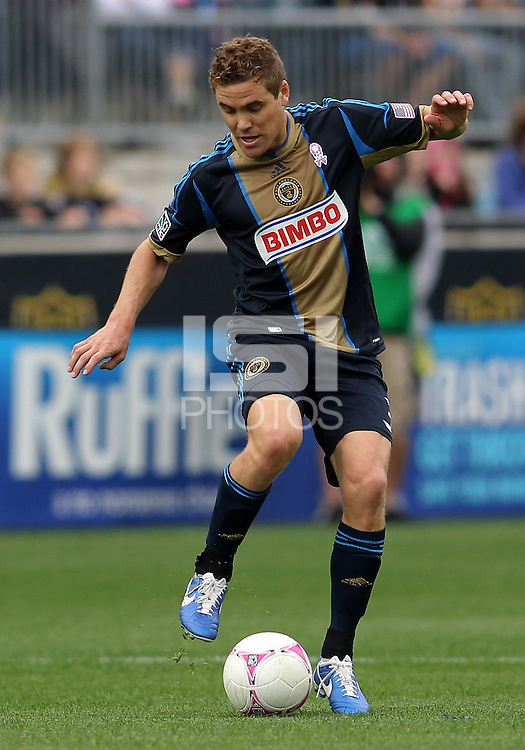 CHESTER, PA - OCTOBER 27, 2012:  Chris Albright (3) of the Philadelphia Union against the New York Red Bulls during an MLS match at PPL Park in Chester, PA. on October 27. Red Bulls won 3-0.