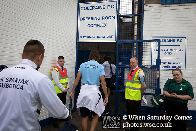 Visiting team players arriving at the ground before Coleraine played Spartak Subotica of Serbia in a Europa League Qualifying First Round second leg at the Showgrounds, Coleraine. The hosts from Northern Ireland had drawn the away leg 1-1 the previous week, however, the visitors won the return leg 2-0 to progress to face Sparta Prague in the next round, watched by a sell-out crowd of 1700.