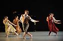 "Alston Dance Company presents ""An Italian In Madrid"" at Sadler's Wells. choreographed by Richard Alston, lighting design by Karl Oskar Sordal, costume design by Fotini Dimou. Picture shows: Liam Riddick (Prince Fernando of the Asturias - centre), Jennifer Hayes, Nancy Nerantzi, Oihana Vesga Bujan"