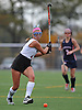 Garden City No. 1 Michaela Bruno reverses her grip to make a left-handed centering pass during the Nassau County varsity field hockey Class B final against Manhasset at Adelphi University on Sunday, November 1, 2015. Garden City won by a score of 9-0.<br /> <br /> James Escher