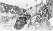 Head-on view of D&amp;RGW #496 with freight descending Poncha Pass.<br /> D&amp;RGW  Poncha Pass, CO  Taken by Best, Gerald M. - 5/8/1938