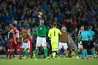 Northern Ireland's Kyle Lafferty applauds the fans   <br /> <br /> <br /> Photographer Craig Mercer/CameraSport<br /> <br /> FIFA World Cup Qualifying - European Region - Group C - Northern Ireland v Czech Republic - Monday 4th September 2017 - Windsor Park - Belfast<br /> <br /> World Copyright &copy; 2017 CameraSport. All rights reserved. 43 Linden Ave. Countesthorpe. Leicester. England. LE8 5PG - Tel: +44 (0) 116 277 4147 - admin@camerasport.com - www.camerasport.com