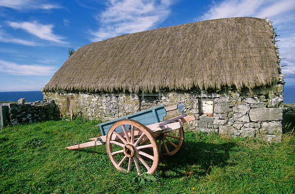 Cart and stone building on Inis Mor in the Aran Islands, County Galway, Ireland, AGPix_0134.