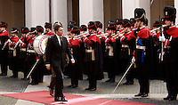 Il nuovo Presidente del Consiglio Matteo Renzi arriva a Palazzo Chigi, Roma, 22 febbraio 2014.<br /> Italian new Premier Matteo Renzi arrives at Chigi Palace, Rome, 22 February 2014.<br /> UPDATE IMAGES PRESS/Isabella Bonotto